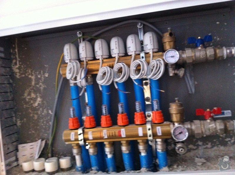 Topenářské práce, podlahové topení včetně položení a dopojení konvektorů: 018