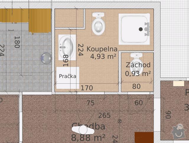 Rekonstrukce bytového jádra: KoupelnaNavrh2