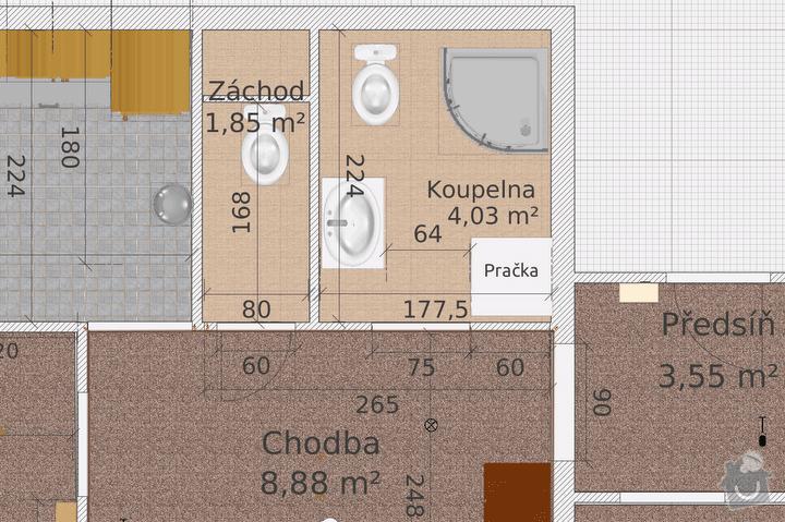 Rekonstrukce bytového jádra: KoupelnaNavrh1