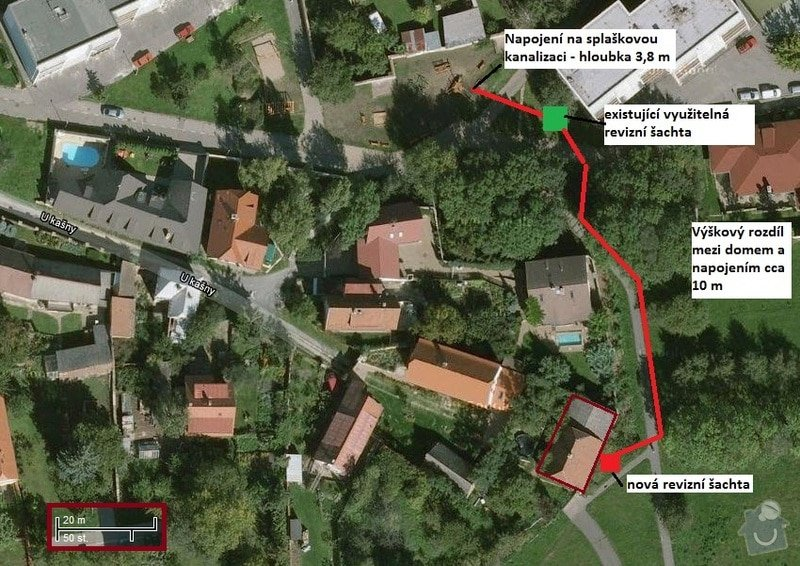 Projekt kanalizacni pripojky - Praha: pozemek_kanalizace