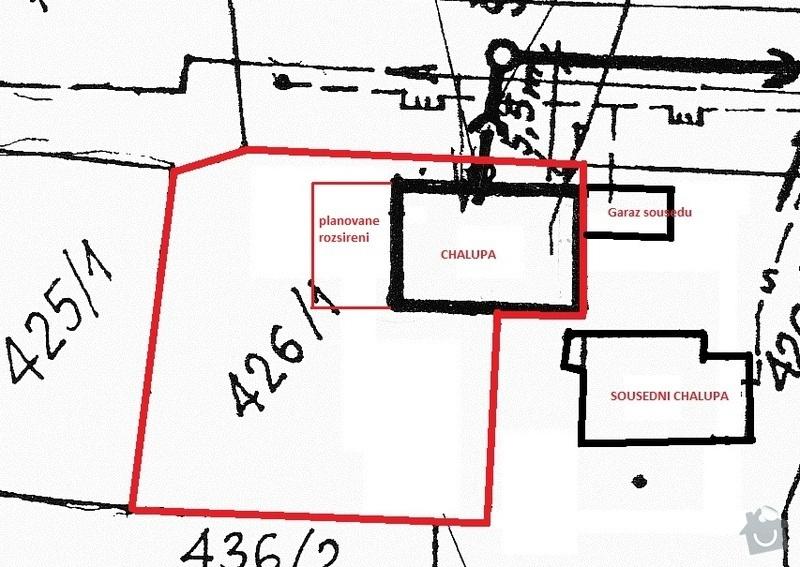 Přestavbu a rozšíření chalupy na RD: pozemek