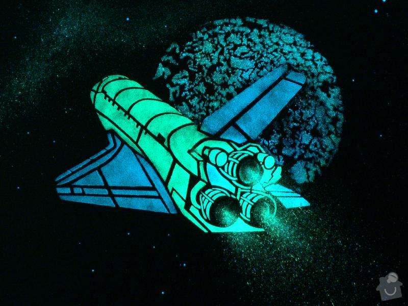 Dekorace Stropu, Hvězdný Strop, malování Raketoplánu: P1200213