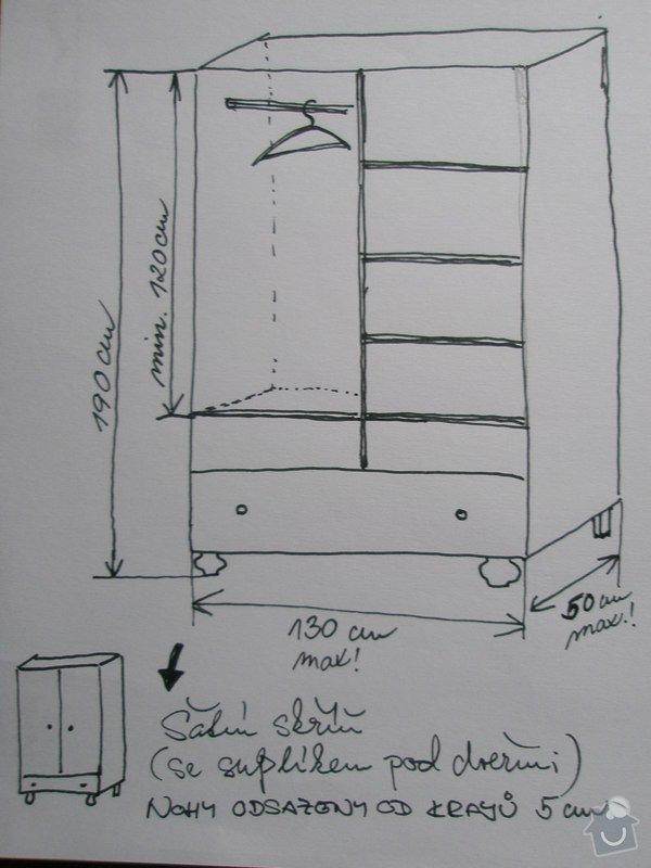 Šatní skříň a knihovna z masivu (borovice, smrk): P1250285