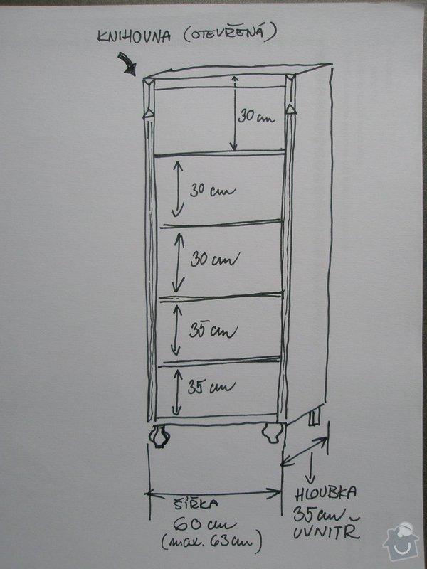 Šatní skříň a knihovna z masivu (borovice, smrk): P1250286
