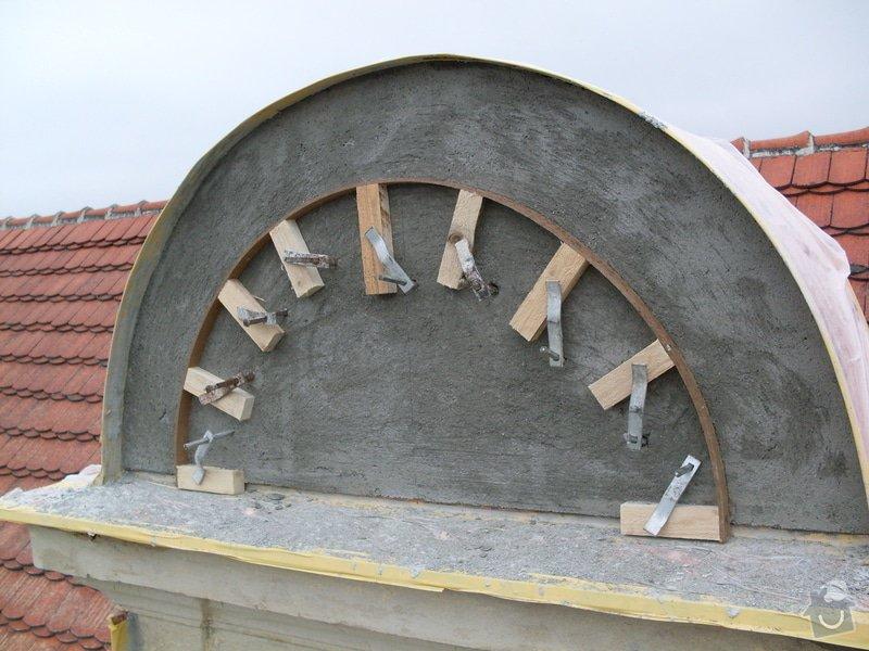Rekonstrukce historické secesní fasády - Cukrárna v Mirovicích: Oprava_atiky