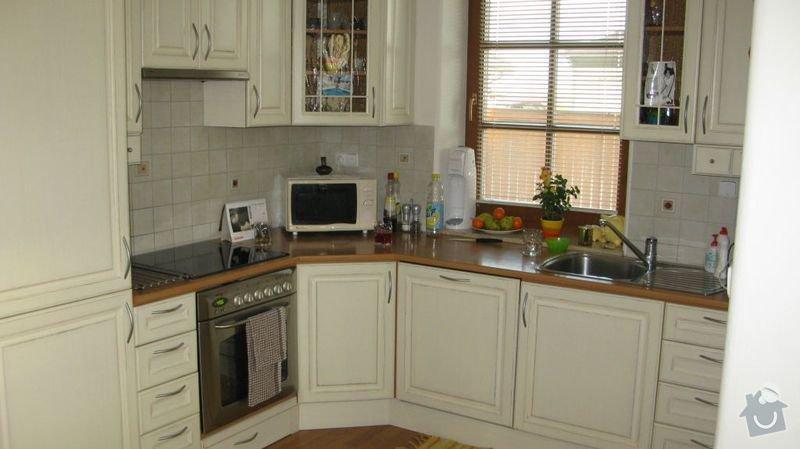 Výměna kuchyňské desky, dřezu a baterie a broušení podlahy 48m2: kuchyn