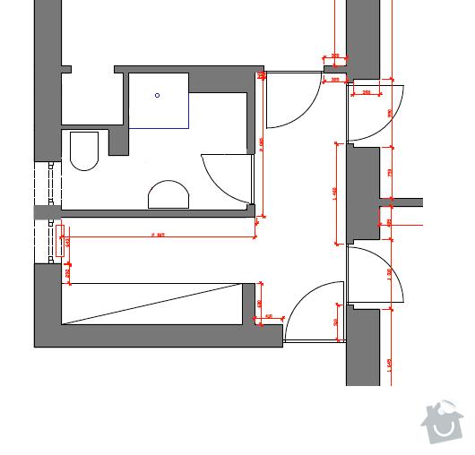 Rekonstrukce koupelny: Pudorys