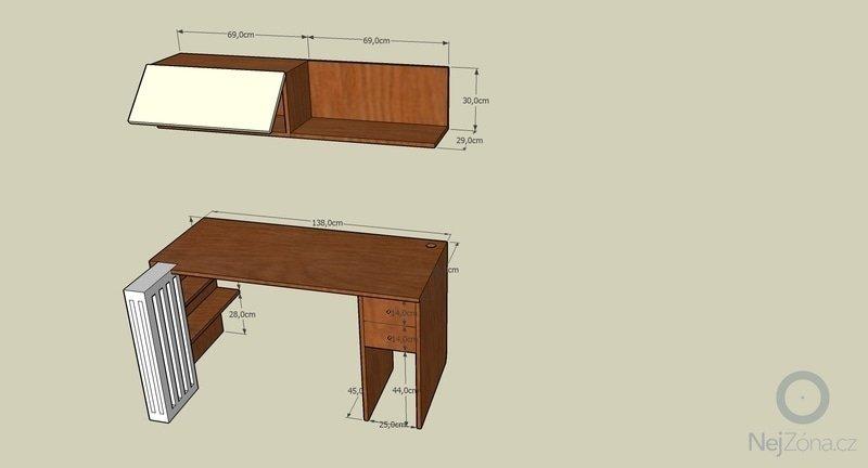 Pracovní stůl + polička: stul_prvni