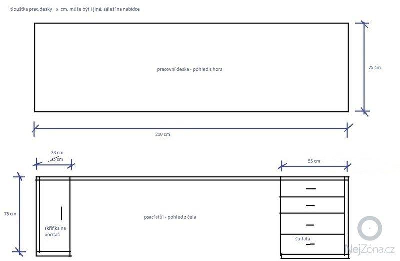 Výroba psacího stolu: psaci_stul-nacrt_v3