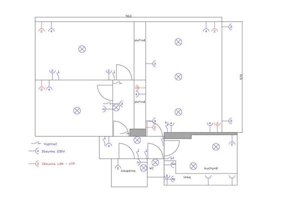 Kompletní rekonstrukce elektroinstalace(cihlový byt 3+1) - Praha 10