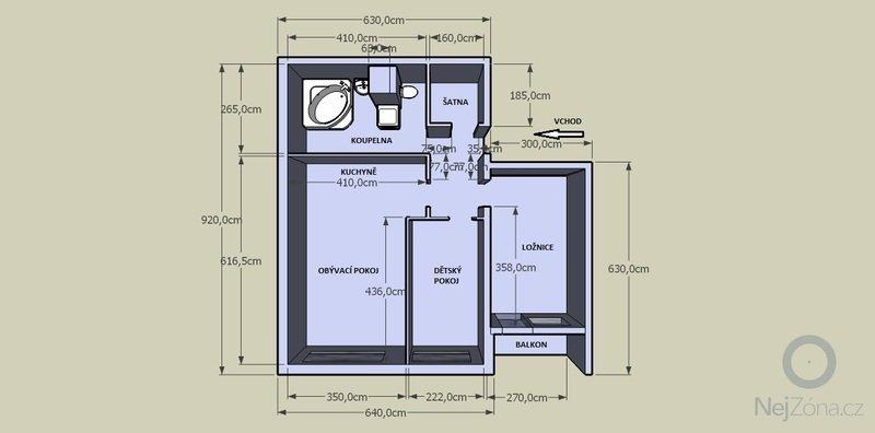 Návrh rekonstrukce bytu 3+kk: Letovska_navrh_1_pudoris