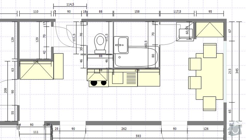 Rekonstrukce bytového jádra + vybourání panelu: byt47predrekonstrukci