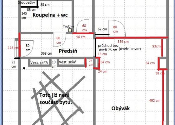 Rekonstrukce bytu 2+1 (cca 52 m2)