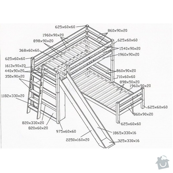 Vyroba patrove postele: postel_rozmery