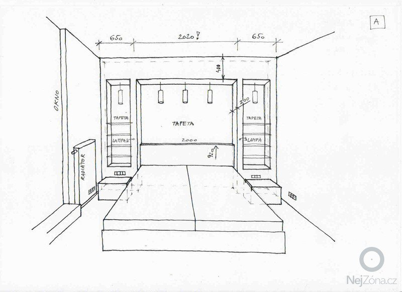Sádrokartonová konstrukce do ložnince: loznice_A