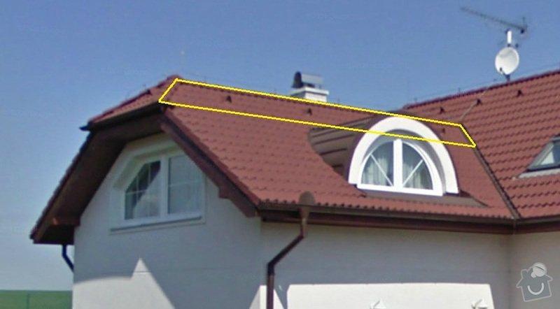 Vyplnění špičky střechy nad částí rodinného domu foukanou izolací.: Strecha1
