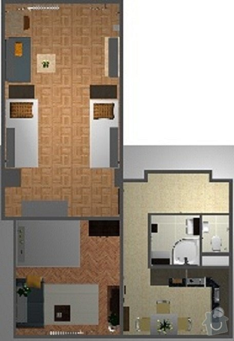Poptávka návrh a rekonstrukce bytového jádra - 2+1, Vídeňská, Brno: P1_pudorys