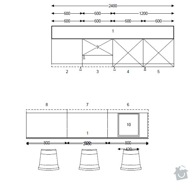 Pracovní deska do kuchyně (masiv, spárovka): pudorys