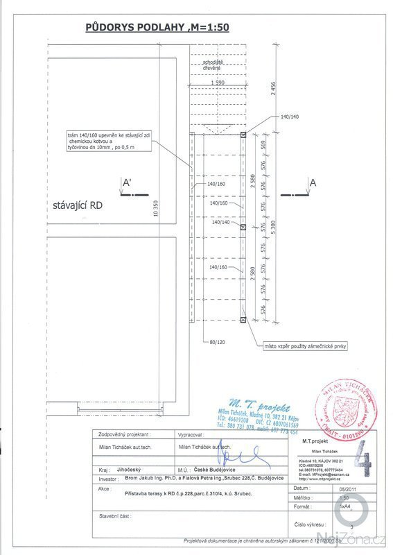Dřevěná přístavba - terasa: podlaha