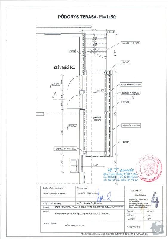 Dřevěná přístavba - terasa: pudorys
