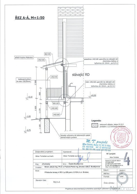 Dřevěná přístavba - terasa: rez