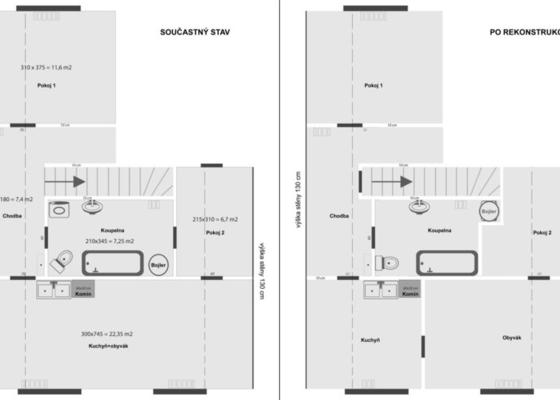 Rekonstrukce bytu 3+kk 55 m2 v RD Praha-východ