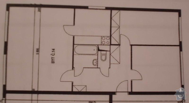 Rekonstrukce stare koupelny a wc: pudorys