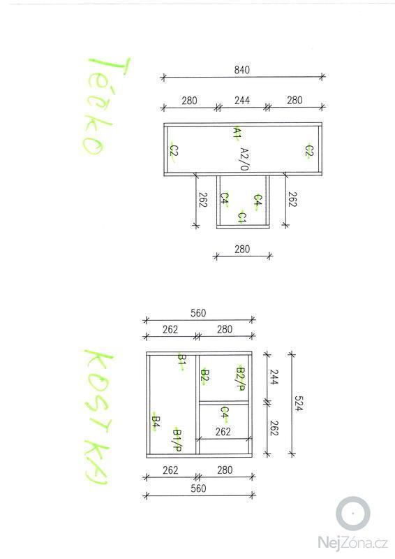 Výroba designových polic: skica3