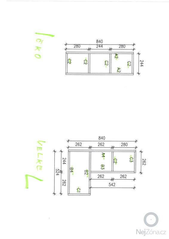Výroba designových polic: skica1