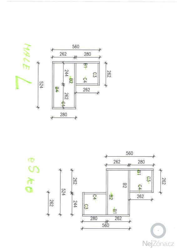 Výroba designových polic: skica2