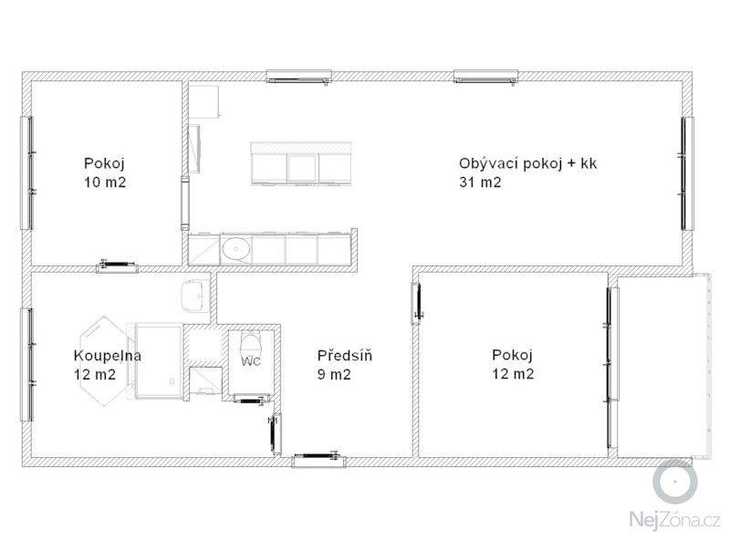 Dokončení rekonstrukce bytové jednotky: pudorys