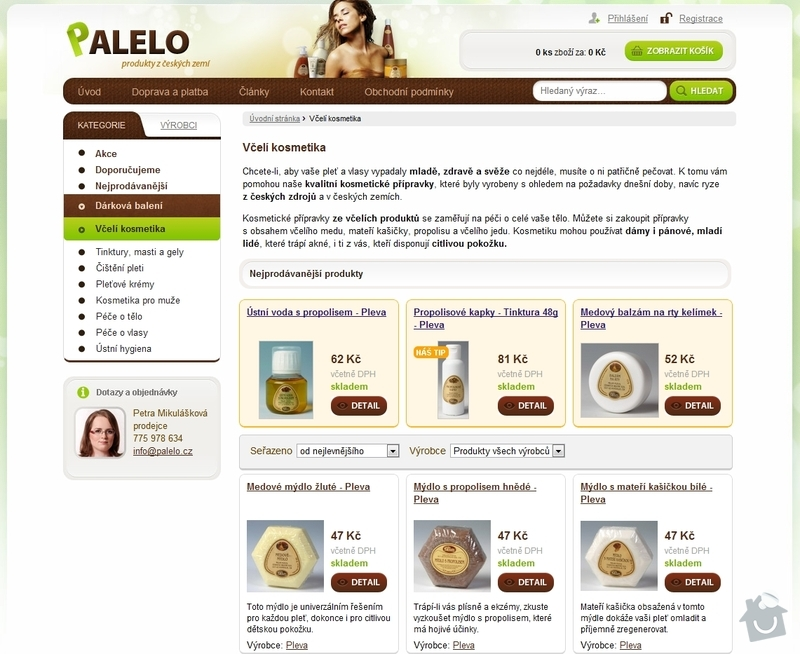 Tvorba e-shopu www.palelo.cz: Vceli_kosmetika_-_Palelo.cz