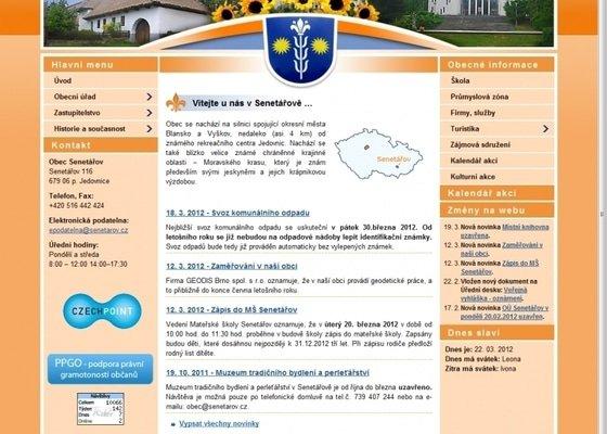 Tvorba stránek pro obec Senetářov