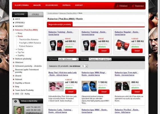Tvorba e-shopu www.fightershop.cz