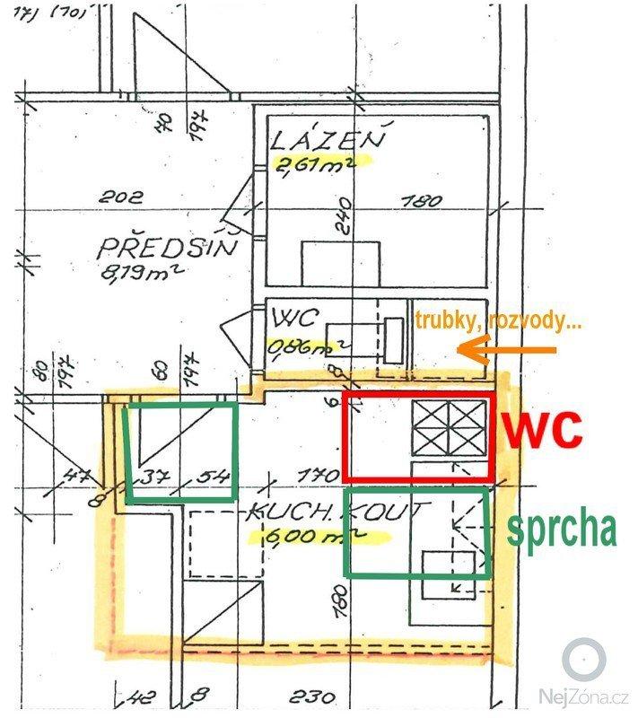 Připojit nové wc s odpadem a sprch.kout s odpadem: navrh