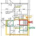 Pripojit nove wc s odpadem a sprch kout s odpadem navrh