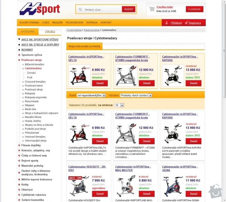 Tvorba e-shopu www.hsport.cz: 008-cyklotrenazery-posilovaci-stroje-hsport