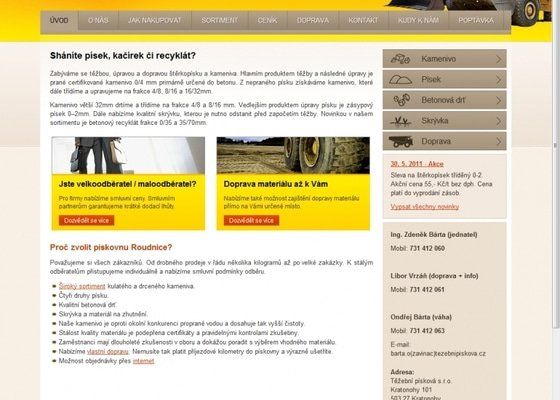 Tvorba stránek firmy na těžbu písku a kameniva www.tezebnipiskova.cz
