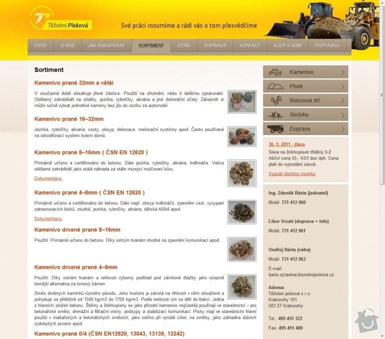 Tvorba stránek firmy na těžbu písku a kameniva www.tezebnipiskova.cz: 037-sortiment-tezebni-piskova-s-r-o