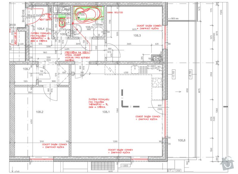 Realizace podhledu (obyvak, koupelna a chodba): Pudorys
