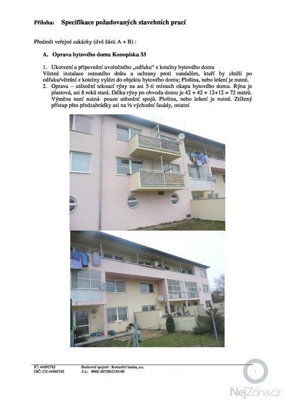 Utěsnění/oprava 72m okapu 3 podlažního bytového domu: str2