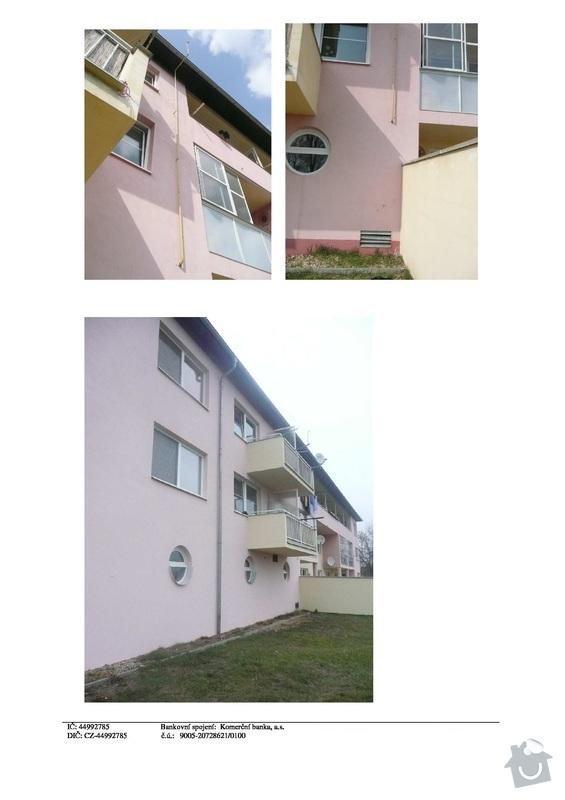 Utěsnění/oprava 72m okapu 3 podlažního bytového domu: str3