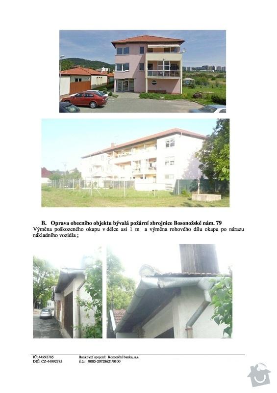 Utěsnění/oprava 72m okapu 3 podlažního bytového domu: str4