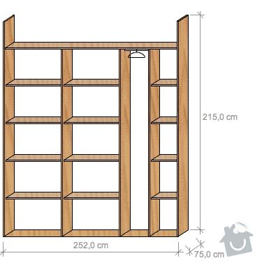 Výroba, montáž vestavných skříní: variantaE