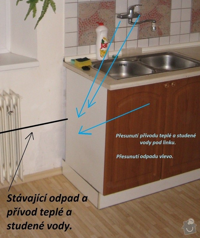 Výměna radiátoru, přesunutí odpadu a přívodu teplé a studené vody: IMG_0066