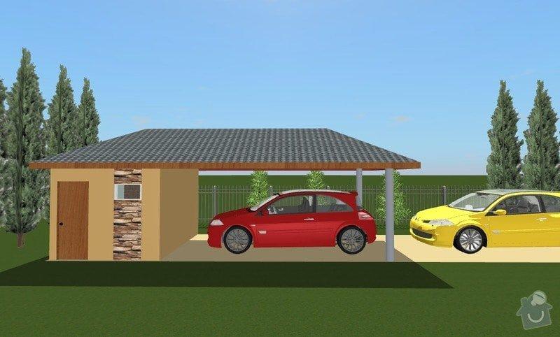 Projekt zahr. skladu s carportem: garaz-bok