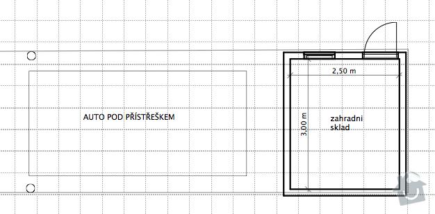 Projekt zahr. skladu s carportem: garaz-pudorys