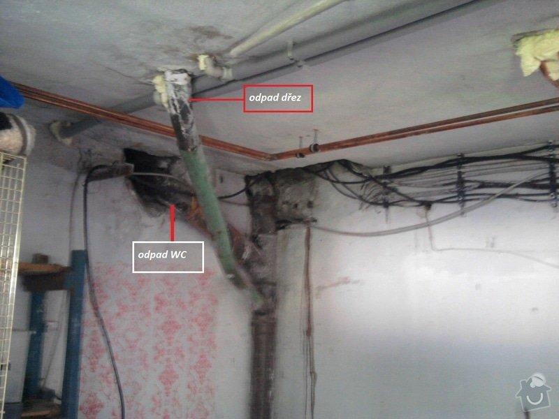 Zazdění rohu místnosti a výměna-úprava odpadu: odpad_pokoj_4_