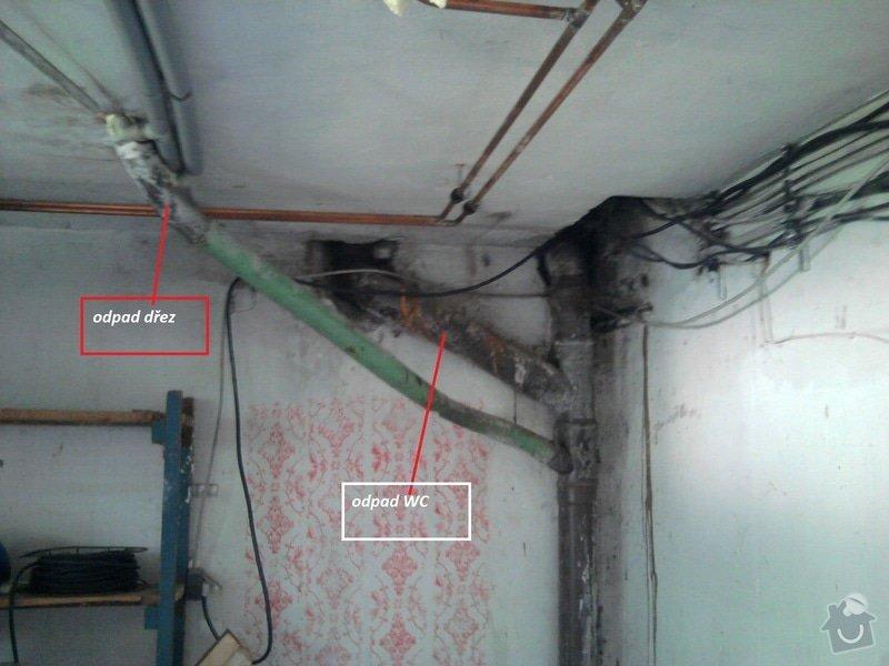 Zazdění rohu místnosti a výměna-úprava odpadu: odpad_pokoj_5_