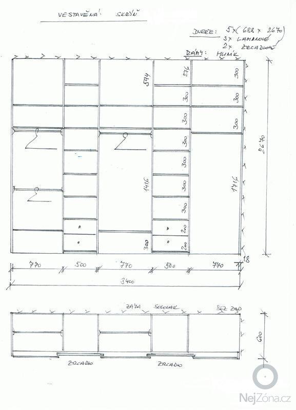 Vestavěná skříň, šíře 340 cm: skrin